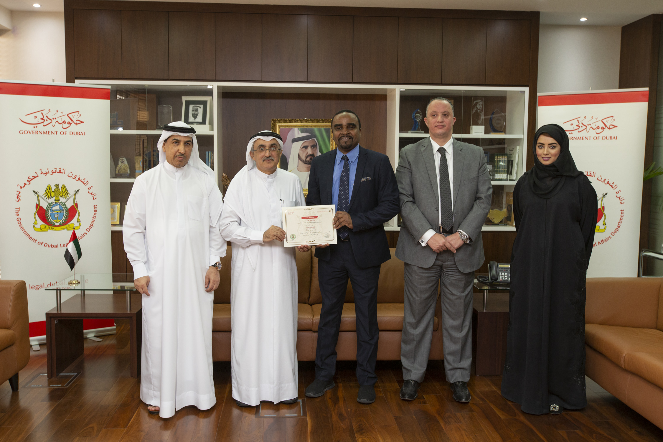 His Excellency Dr. Lowai Belhoul, Director General of Legal Affairs Department, honoured a number of distinguished employees for the third quarter of 2019, as part of the Department's commitment to foster a spirit of excellence and positive competition
